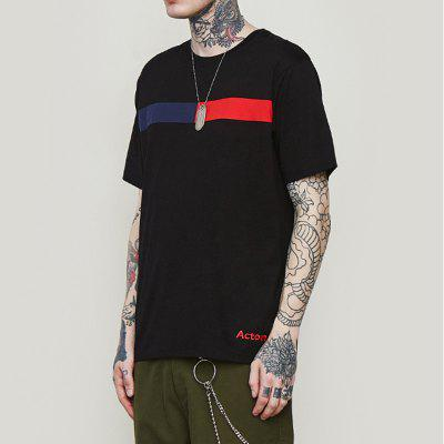 INFLATION Summer Contrast English Embroidered Men'S Short Sleeve T-Shirt