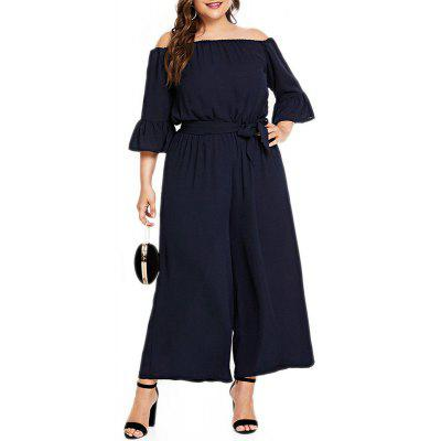 Solid Color One Word Collar Flare Sleeve High Waist Lace Up Jumpsuit