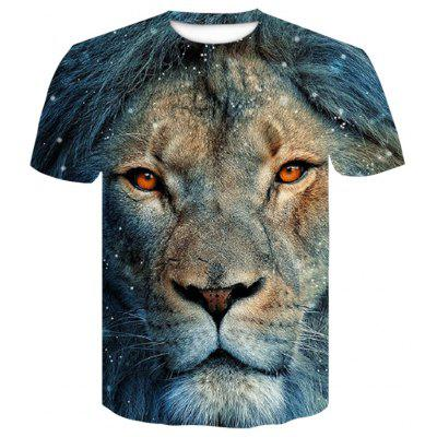 Men's  Summer Short Sleeve 3D Digital Print Tiger Orangutan T-Shirt