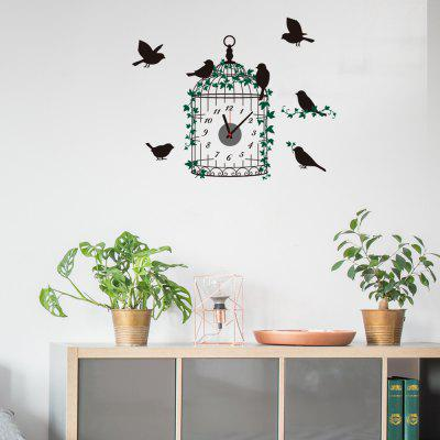 Creative 3D DIY Cartoon Green Vine Birdcage Mute Wall Clock