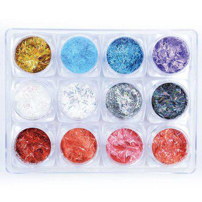 1 Box 12 Color Glitter 3D Ultrathin Sequins With 4 Design Star Line Nail Decors
