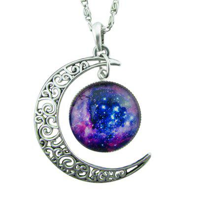 Indian Antique Silver Moon Round Pendant Necklace
