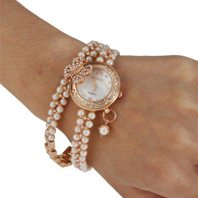 Women's Butterfly-knot Pearl Round Ring Drill Trend Long Chain Quartz Watch