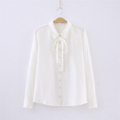 Spring Female Chiffon Ribbon Shirt