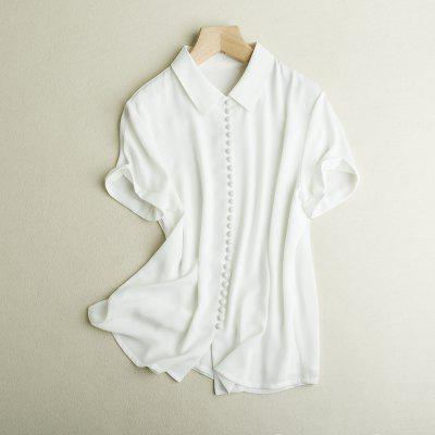 Summer New Lapel Shirt Short Sleeve Chiffon Shirt Woman