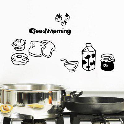 Good Morning Breakfast Decal Combination Wall Sticker Mural Kitchen Fridge Decor
