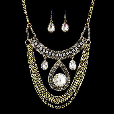 Gold Chain Water Drop Jewelry set