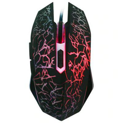 Cool Professional 6 Buttons 2400DPI Optical Flashing Wired Gaming Mouse