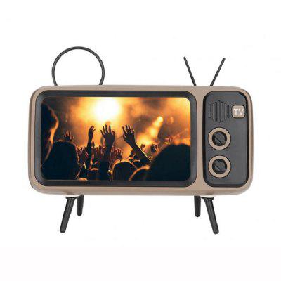 Retro TV Bluetooth Speaker with Phone Stand Holder TF Card U Disk Input Player