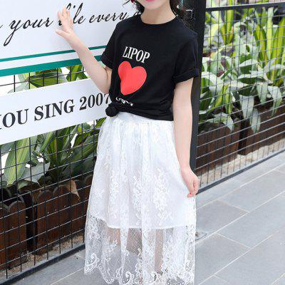 Girl Printed Letter Short Sleeve T-shirt Mesh Long Skirt Suit