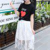 Girl Printed Letter Short Sleeve T-shirt Mesh Long Skirt Suit - MULTI-B
