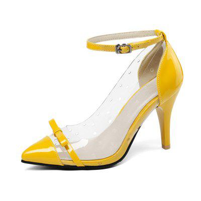 Pointed Transparent Shoes with Contrasting Colors Monogram Straps