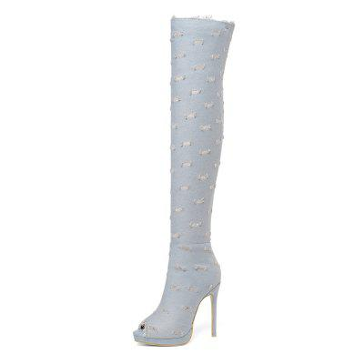 11 cm super high heel fish bill denim hole-in-the-knee boots