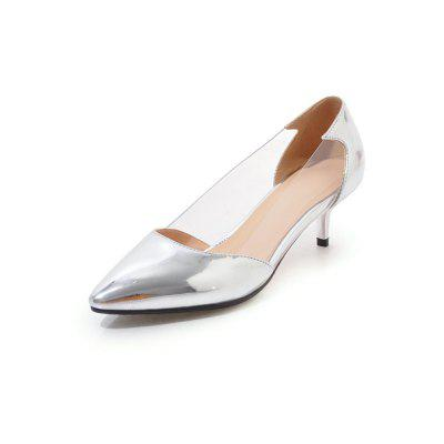 Transparent Stitching with Pointed Toes and Contrasting Thin Colored Heels