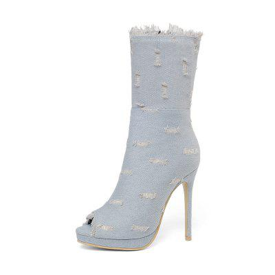 11 Cm High with Fish Mouth Denim Crotch Boots