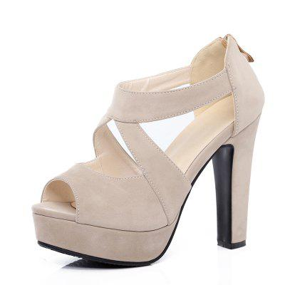 New Summer Ultra High Heels with Frosted Back Zipper Party Sandals
