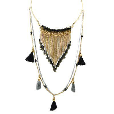 Black Blue Tassel Necklace
