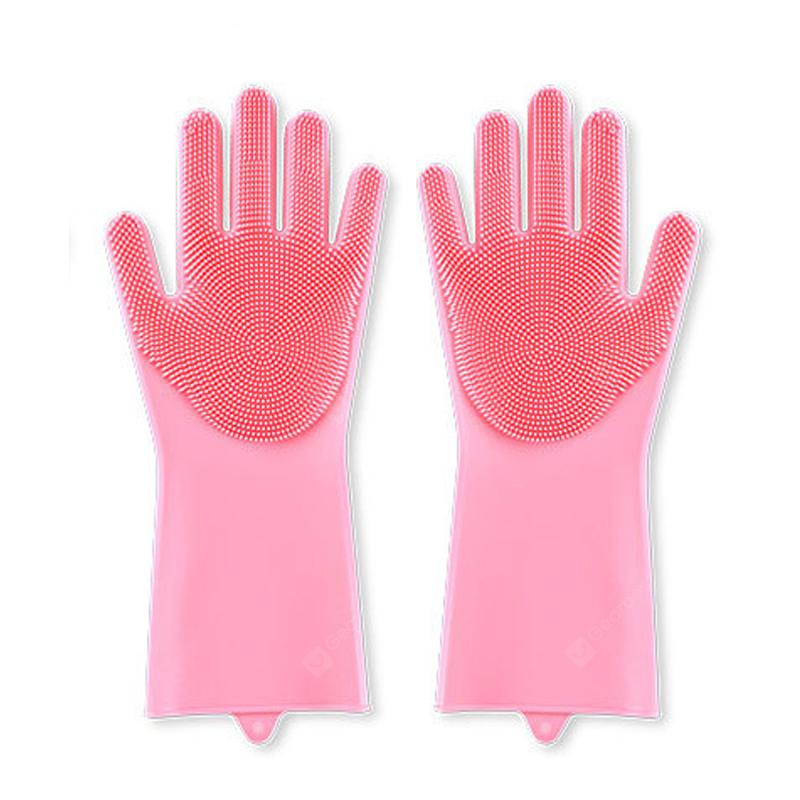 1 Pair Household Silicone Dishwashing Gloves Cleaning Brush