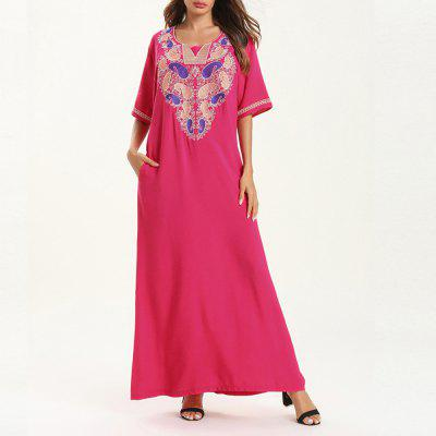 Casual Fashion Short-Sleeved Embroidered Dress Maxi Dresses