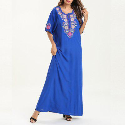 Casual Fashion Embroidered Dress Maxi Dress