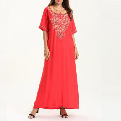 Ethnic Style Embroidered Dress Short-Sleeve  Maxi Dress