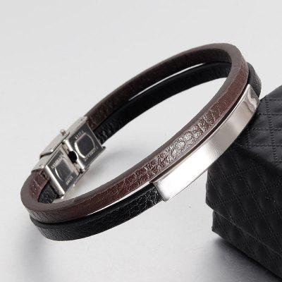 Double layer Leather Belt Boat Anchor Wristband Bangle Bracelet