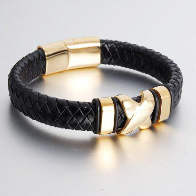 New Cool Gold Men Leather Belt Boat Anchor Wristband Bangle Bracelet