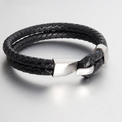 Unisex Women Men Braided Leather Steel  Bracelet Handmade