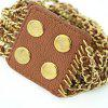 Fashionable Brown Leather Bracelet - BROWN