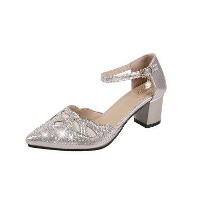 Oneword Button Female Pointed Single Shoe