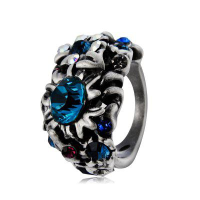 Plated Old Silver Flower with Colored Crystal Ring