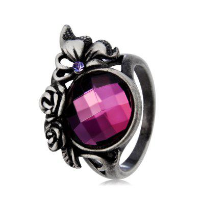 Classic  Rose Inlay Purple Crystal Ring