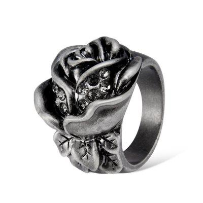 Plated Ancient Silver and Zircon Rose Ring