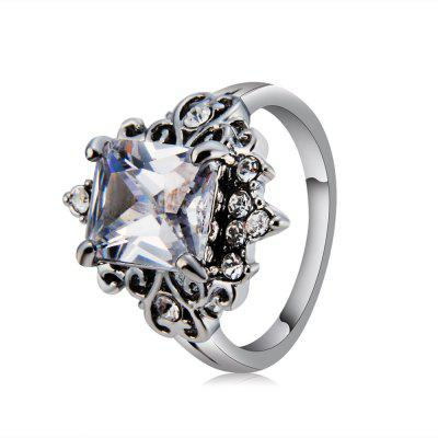 Silver-Plated Lace-Inlaid Zircon-Inlaid Rectangular Clear Crystal Ring