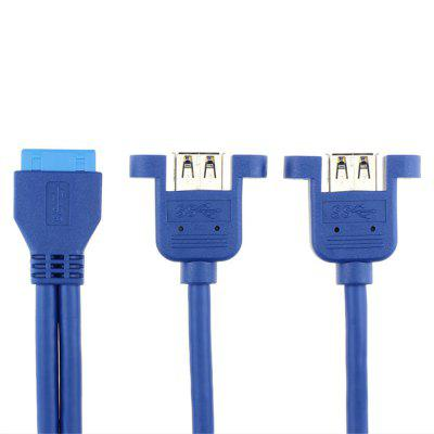 Cable Motherboard 20 P Turn To Dual Start Connection with Ear Blue 0.5 Meters