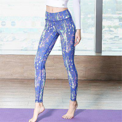 High Waist Spliced Skinny Elastic Women Yoga Pants Runing Pants