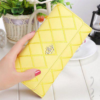 Solid Color Crown Embroidery Multifunction Wallet