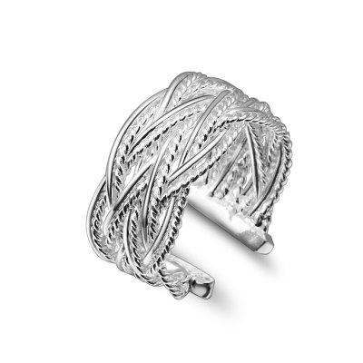 Fashion Popular 925 Openings Reticulocyte Plated Ring Braided Rings