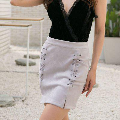 Fashion Women'S Suede Straps A Word White with Sexy Skirt in Autumn and Winter