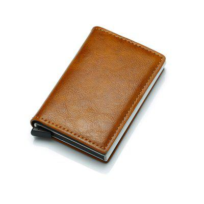 Aluminum Alloy Automatic Elastic Card Package Genuine Leather Wallet