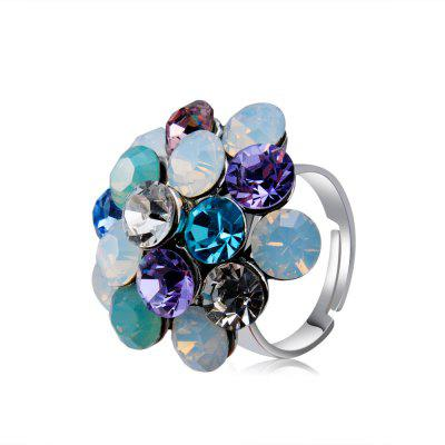 Silver-Plated Flowers Set with Colorful Crystal Rings