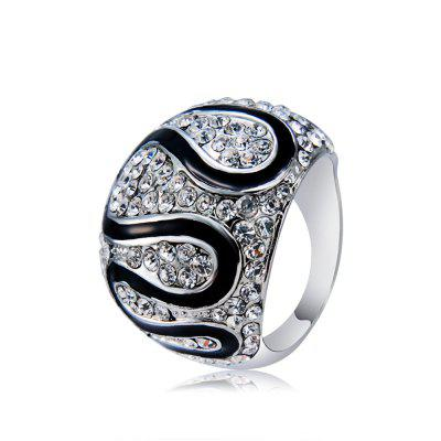 Studded Zircon-Plated Silver-Plated Wide Ring