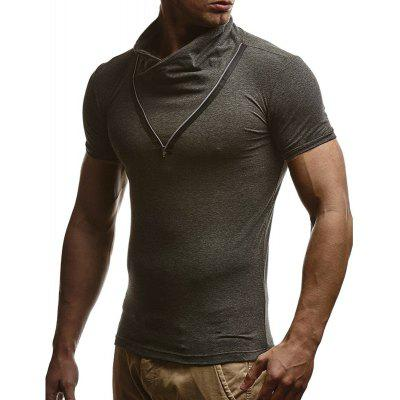 Men's Fashion Stand Collar Solid Color Zipper Slim Short-sleeved T-shirt