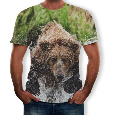New Men Fashion Funny Animal 3D HD Print Short Sleeve T-Shirt