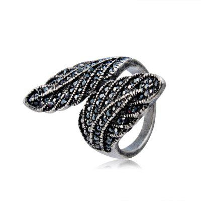 Plated Ancient Silver Two Feathers Set with Black Zircon Ring