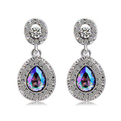 Silver-Plated Round Inlaid Zircon Pendant with Colorful Crystal Earrings