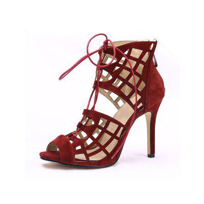Summer Fish Mouth Stiletto Fashion Hollow Tie with Back Zipper High Heel Sandals