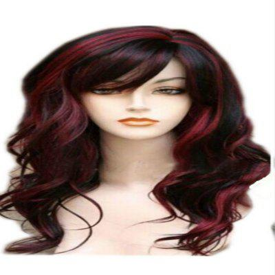 Black Red Gradient Hairstyle Wig Golden Wig Long Curly Hair
