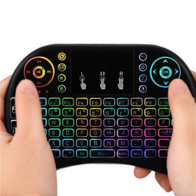 I8 mini colorful backlit wireless keyboard trackpad mouse Russian Edition