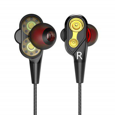 Double Unit Drive Earphone Bass Subwoofer Earphone with Microphone Sport Earbuds